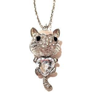 Metal Faux Diamond Cat Necklace Heart Gemstone